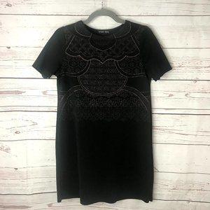 Zara Metallic Knee Length Textured Black Dress